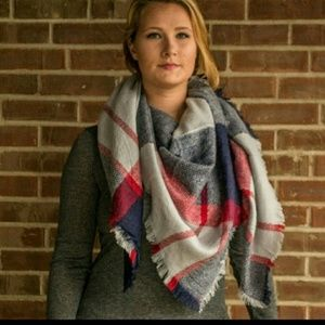 Blue Gray and Red Blanket Scarf